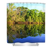 Reflections On The River Shower Curtain by Debra Forand