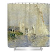 Regatta At Argenteuil Shower Curtain by Pierre Auguste Renoir