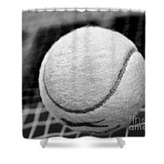 Remember The White Tennis Ball Shower Curtain by Kaye Menner