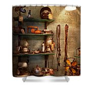 Repair - In The Corner Of A Repair Shop Shower Curtain by Mike Savad