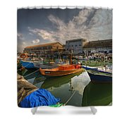 resting boats at the Jaffa port Shower Curtain by Ron Shoshani