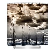 Resting Sailboats Shower Curtain by Stelios Kleanthous