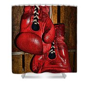 Retired Boxing Gloves Shower Curtain by Paul Ward