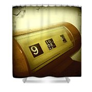Retro Clock Shower Curtain by Les Cunliffe