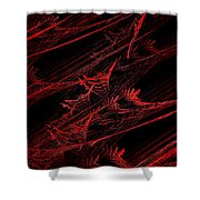 Rhapsody In Red V - Panorama - Abstract - Fractal Art Shower Curtain by Andee Design
