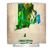 Rhode Island Watercolor Map Shower Curtain by Naxart Studio