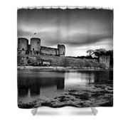 Rhuddlan Castle Shower Curtain by Dave Bowman