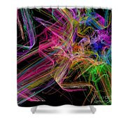 Ribbons And Curls Black - Abstract - Fractal Shower Curtain by Andee Design