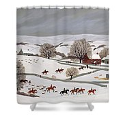 Riding In The Snow Shower Curtain by Vincent Haddelsey