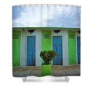 Rimini Beach Panorama Shower Curtain by Andy Prendy