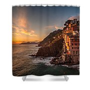 Riomaggiore Rolling Waves Shower Curtain by Mike Reid