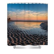 Ripples In The Sand Shower Curtain by Debra and Dave Vanderlaan