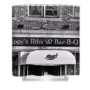 Rippy's Ribs And Bar Bq Shower Curtain by Dan Sproul