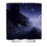 Rising Moon Over Ocean And Mountains Shower Curtain by Evgeny Kuklev