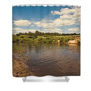 River Flows Shower Curtain by Jenny Rainbow