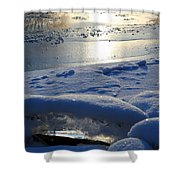 River Ice Shower Curtain by Hanne Lore Koehler