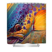 River Orchid - Brown Trout Shower Curtain by Savlen Art