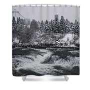 Riverfront Park Winter Storm - Spokane Washington Shower Curtain by Daniel Hagerman