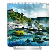 Riverscape Shower Curtain by Ayse Deniz