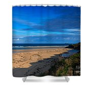 Riviere Sands Cornwall Shower Curtain by Louise Heusinkveld
