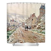 Road In Vetheuil In Winter Shower Curtain by Claude Monet