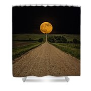 Road To Nowhere - Supermoon Shower Curtain by Aaron J Groen