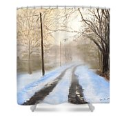 Road To The Ice House Shower Curtain by Jack Skinner