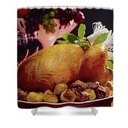 Roast Turkey With Potatoes Shower Curtain by The Irish Image Collection