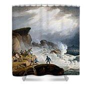 Robin Hoods Bay, Yorkshire, 1825 Shower Curtain by Francis Nicholson