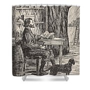 Robinson Crusoe In His Cave Shower Curtain by English School