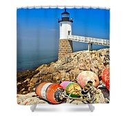 Robinson Point Lighthouse Shower Curtain by Adam Jewell