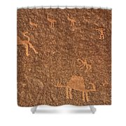 Rock Art At Wadi Rum In Jordan Shower Curtain by Robert Preston