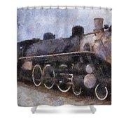 Rock Island Locomotive Engine Photo Art Shower Curtain by Thomas Woolworth