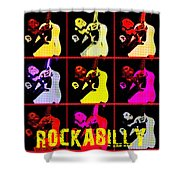 Rockabilly In Comic Style Shower Curtain by Toppart Sweden