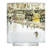 Rockefeller Center Skaters Shower Curtain by Anthony Butera