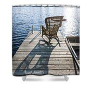 Rocking chair on dock Shower Curtain by Elena Elisseeva