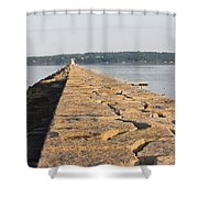 Rockland Breakwater Lighthouse Coast Of Maine Shower Curtain by Keith Webber Jr