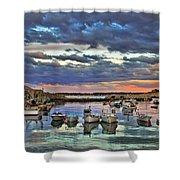 Rockport Dusk Shower Curtain by Joann Vitali