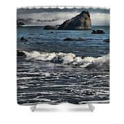 Rocks In The Surf Shower Curtain by Adam Jewell