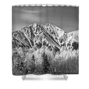 Rocky Mountain Autumn High In Black And White Shower Curtain by James BO  Insogna
