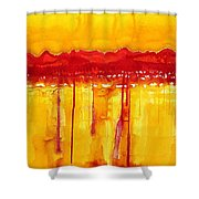 Rocky Mountains Original Painting Shower Curtain by Sol Luckman