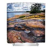 Rocky Shore Of Georgian Bay Shower Curtain by Elena Elisseeva