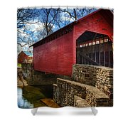 Roddy Road Covered Bridge Shower Curtain by Joan Carroll