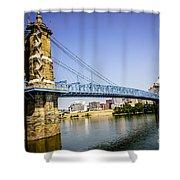 Roebling Bridge in Cincinnati Ohio Shower Curtain by Paul Velgos