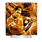 Roger Federer Clay Shower Curtain by RochVanh