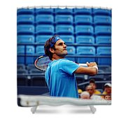 Roger Federer  Shower Curtain by Nishanth Gopinathan