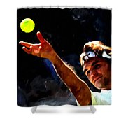 Roger Federer Tennis 1 Shower Curtain by Lanjee Chee