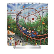 Roller Coaster Shower Curtain by Linda Mears
