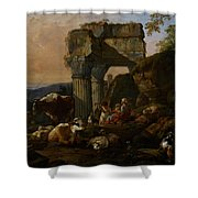 Roman Landscape with Cattle and Shepherds Shower Curtain by Johann Heinrich Roos