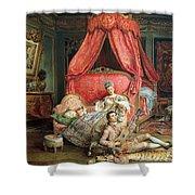 Romantic scene Shower Curtain by Ignacio De Leon y Escosura